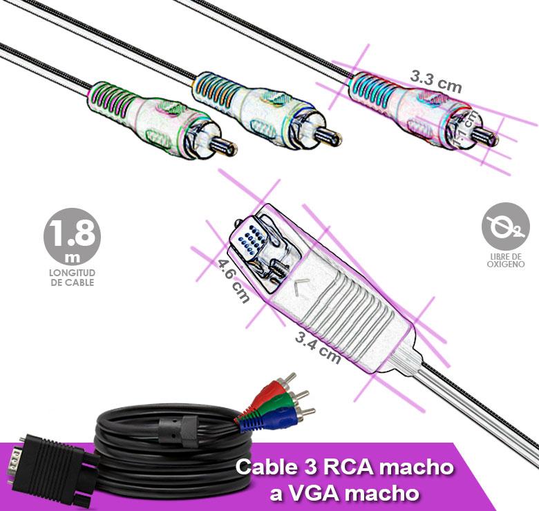 Foto de CABLE 3 A 1 DE 3 PLUG RCA A CONECTOR VGA / 1.8M