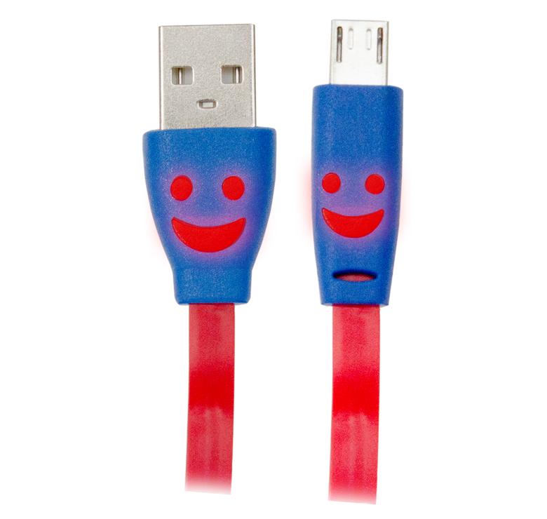 Imagen de CABLE PLANO DE TRANSFERENCIA DE DATOS Y CARGA CON CONECTOR USB A MICRO USB / 1M / CON LUZ LED