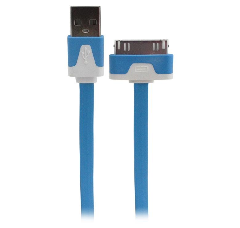 Imagen de CABLE PLANO DE TRANSFERENCIA DE DATOS Y CARGADOR PARA IPOD, IPAD,  IPHONE 4/ USB MACHO A i4