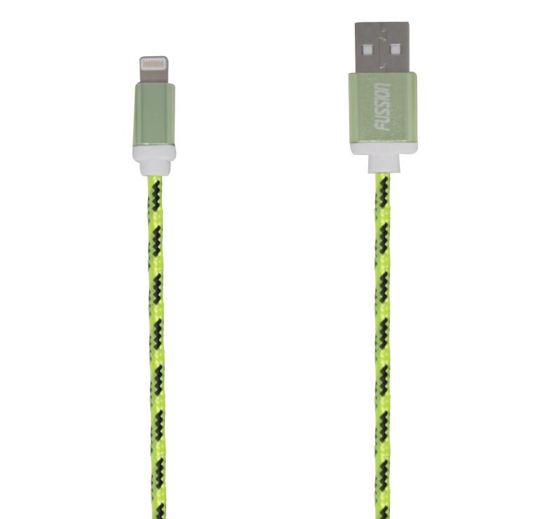 Imagen de CABLE PARA IPHONE / DATOS Y CARGA CON CONECTOR USB A IP5 / 1.5M / RECUBRIMIENTO TEXTIL