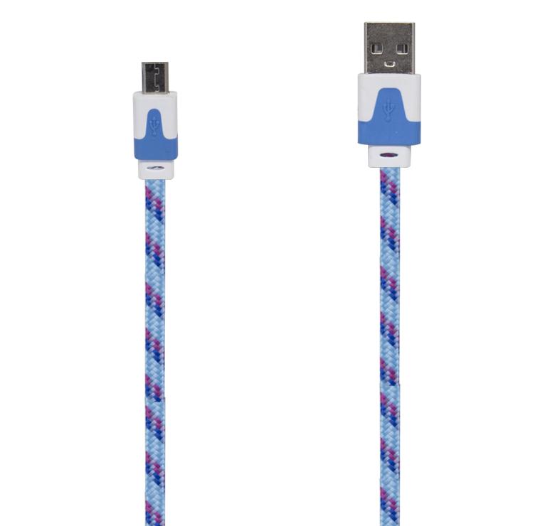 Imagen de CABLE PLANO / DATOS Y CARGA CON CONECTOR USB A MICRO USB / 3M / RECUBRIMIENTO TEXTIL