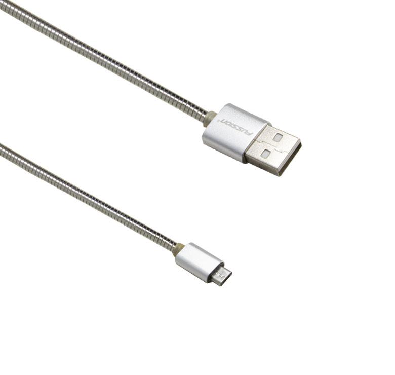 Imagen de CABLE DE TRANSFERENCIA DE DATOS Y CARGA CON CONECTOR USB A MICRO USB / 1M / RESORTE METALICO