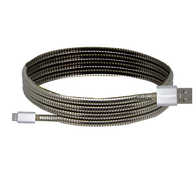 Foto de CABLE DE TRANSFERENCIA DE DATOS Y CARGA CON CONECTOR USB A MICRO USB / 1M / RESORTE METALICO