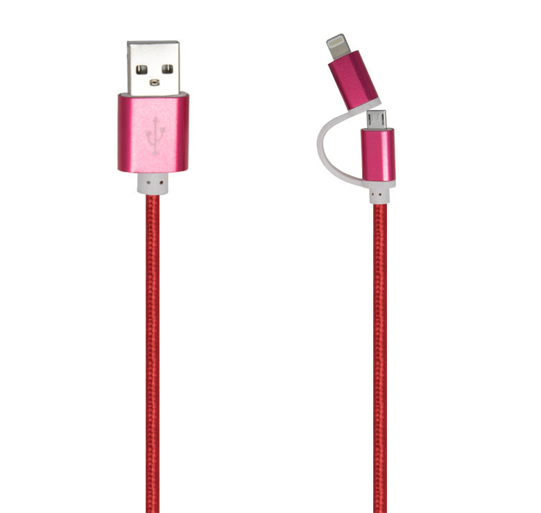 Imagen de CABLE 2 A 1 PARA CELULAR DE TRANSFERENCIA DE DATOS Y CARGA CON CONECTOR USB A MICRO USB Y IP5/1M