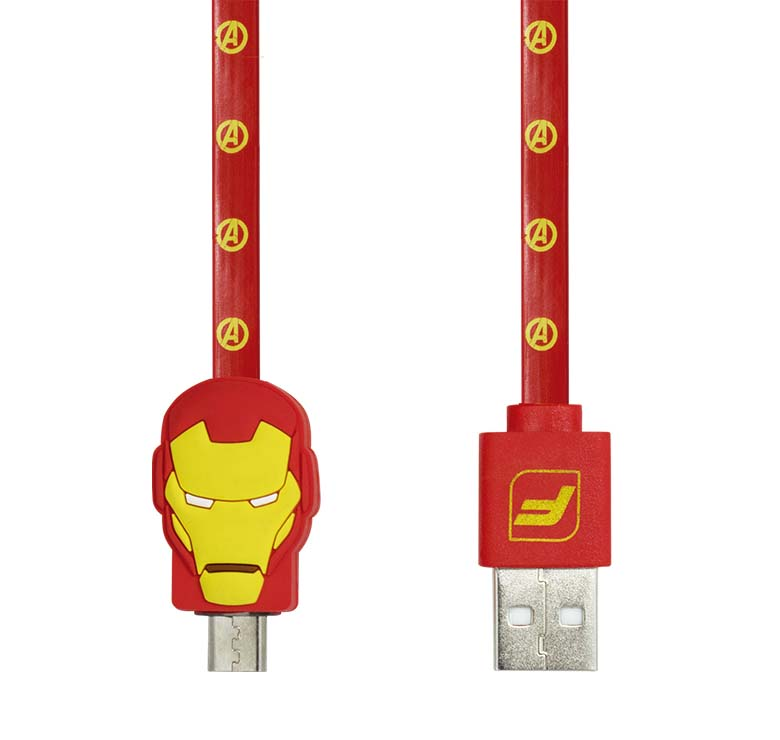 Imagen de CABLE PLANO DE TRANSFERENCIA DE DATOS Y CARGA CON CONECTOR USB A MICRO USB / 1.2M / FIGURA IRON MAN