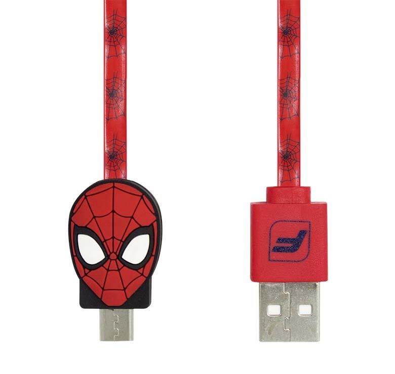 Imagen de CABLE PLANO DE TRANSFERENCIA DE DATOS Y CARGA CON CONECTOR USB A MICRO USB/1 M/FIGURA SPIDERMAN