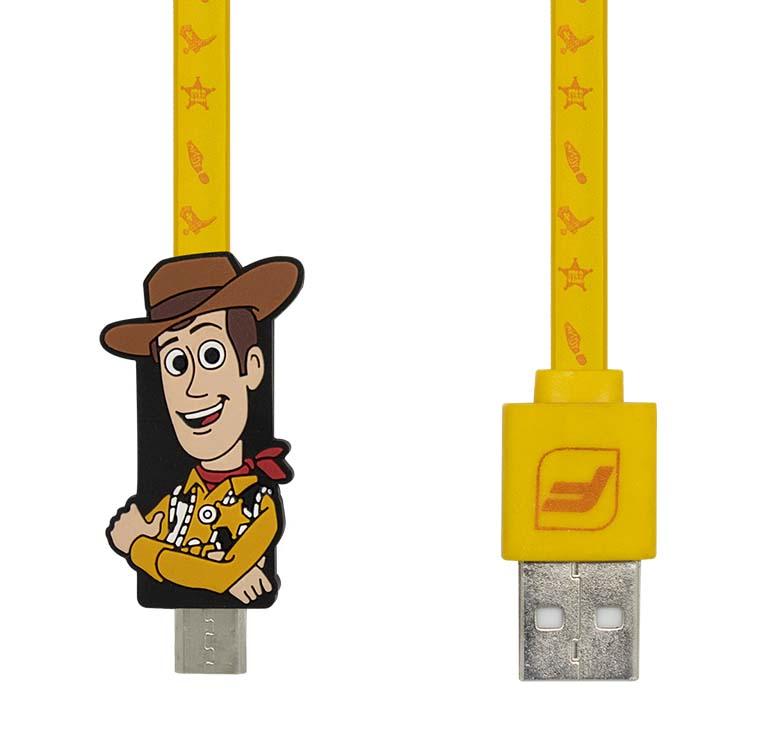 Imagen de CABLE PLANO DE TRANSFERENCIA DE DATOS Y CARGA CON CONECTOR USB A MICRO USB / 1.2M / FIGURA WOODY