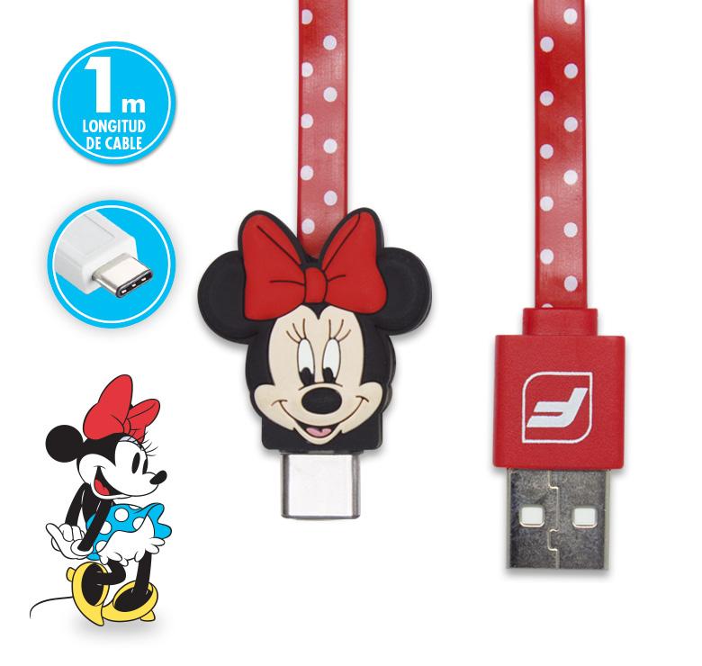 Imagen de CABLE PLANO DE TRANSFERENCIA DE DATOS Y CARGA CON CONECTOR USB A TIPO C USB/1 M/FIGURA MINNIE MOUSE