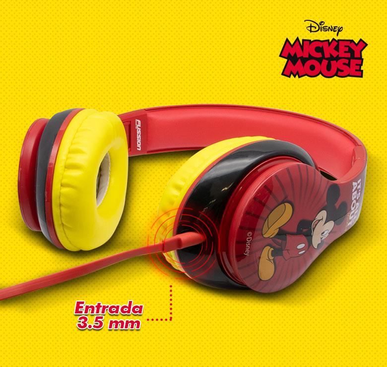 Foto de AUDIFONOS DINAMICOS, CABLE PLANO CON CONECTOR 3.5 DIADEMA  MICKEY