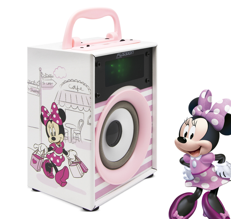 "Imagen de BOCINA PORTATIL 2x4"" BLUETOOTH USB SD AUX FM 300W PMPO LUZ LED DISNEY"
