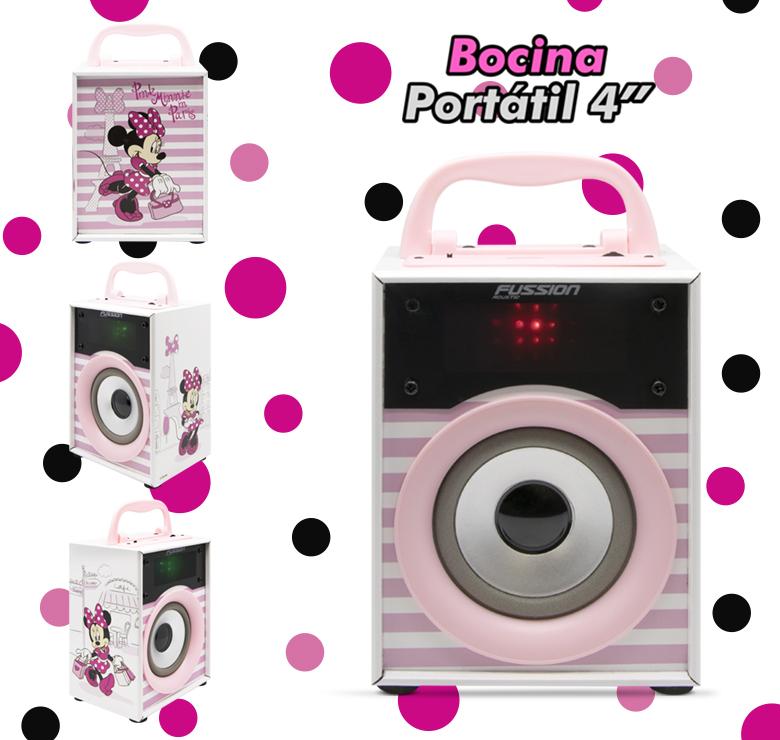 """Foto de BOCINA PORTATIL 2x4"""" BLUETOOTH USB SD AUX FM 300W PMPO LUZ LED DISNEY"""