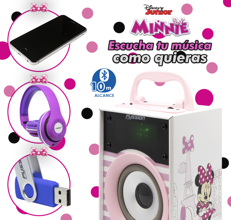 "Foto de BOCINA PORTATIL 2x4"" BLUETOOTH USB SD AUX FM 300W PMPO LUZ LED DISNEY"