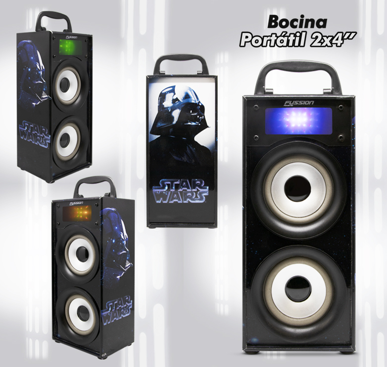 "Foto de BOCINA PORTATIL 2x4"" BLUETOOTH USB SD AUX FM 600W PMPO LUZ LED"