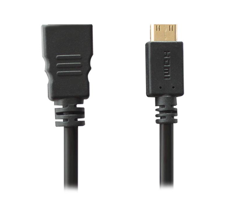 Imagen de CABLE CON CONECTOR MICRO HDMI A HDMI HEMBRA / 3M / BAÑO DE ORO EN PUNTAS