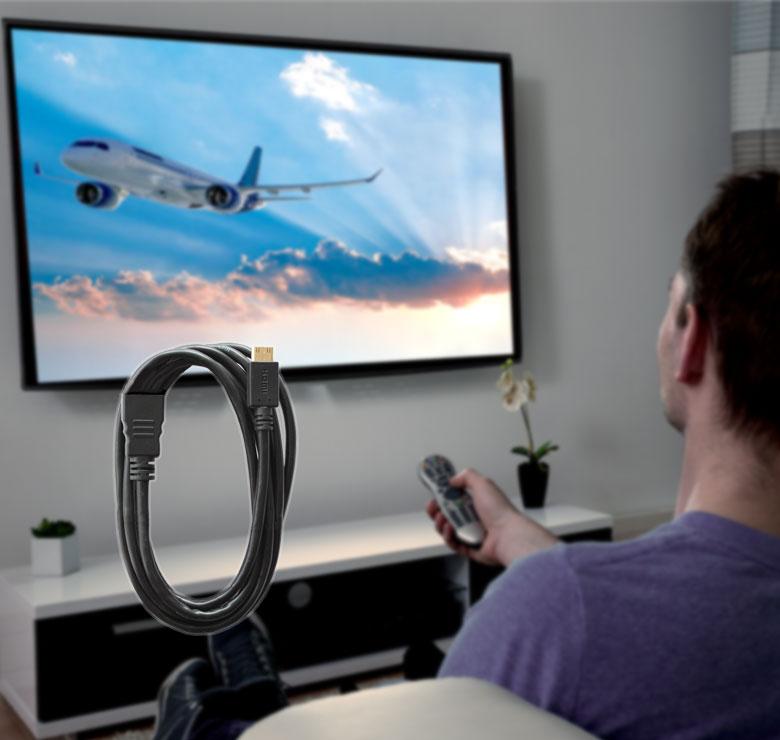 Foto de CABLE CON CONECTOR MICRO HDMI A HDMI HEMBRA / 3M / BAÑO DE ORO EN PUNTAS