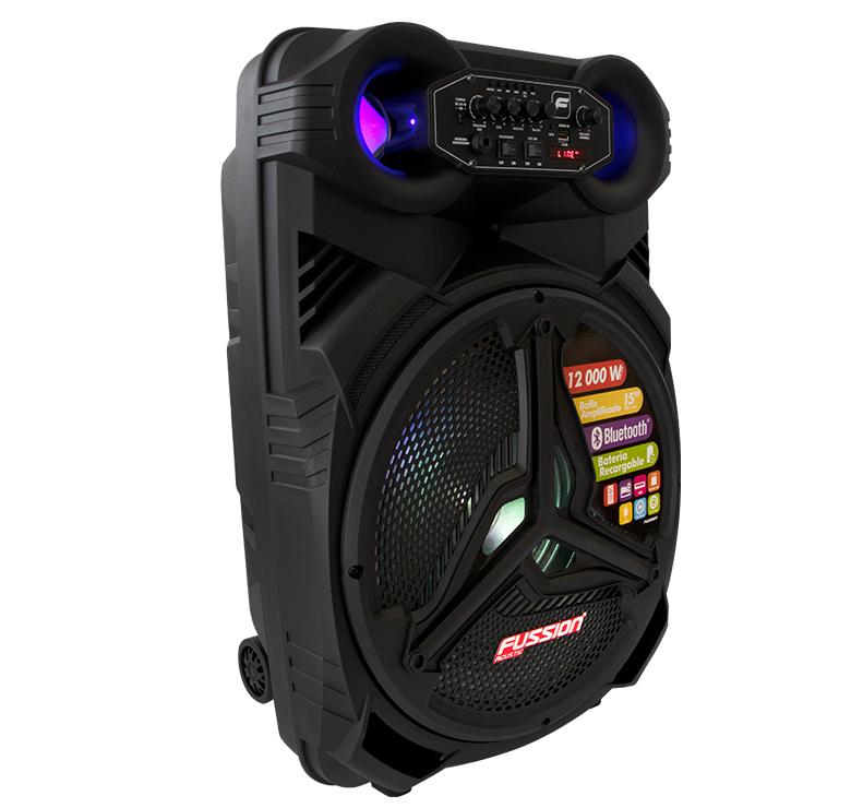 """Foto de BAFLE AMPLIFICADO 15"""" 12 000 W PMPO/TWS/RECARGABLE/BT/FM/USB/MICRO SD/AUX/6.3 mm/LUZ LED/CONTROL"""