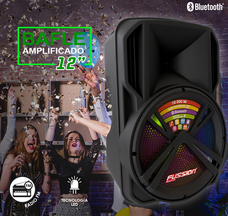 "Foto de BAFLE AMPLIFICADO DE 12"" 10000W PMPO RECARGABLE BLUETOOTH USB SD FM MIC ALAMBRICO"