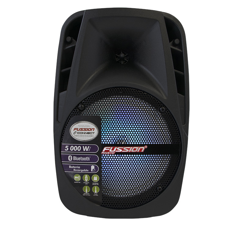 "Imagen de BAFLE AMPLIFICADO 8"" 5 000 W PMPO/TWS/RECARGABLE/BT/FM/USB/MICRO SD/AUX/6.3 mm/LUZ LED"
