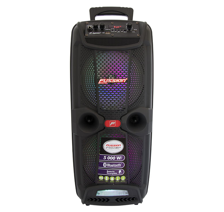 "Imagen de BAFLE AMPLIFICADO 2x8"" 5 000 W PMPO/TWS/RECARGABLE/BT/FM/USB/MICRO SD/AUX/6.3 mm/LUZ LED"