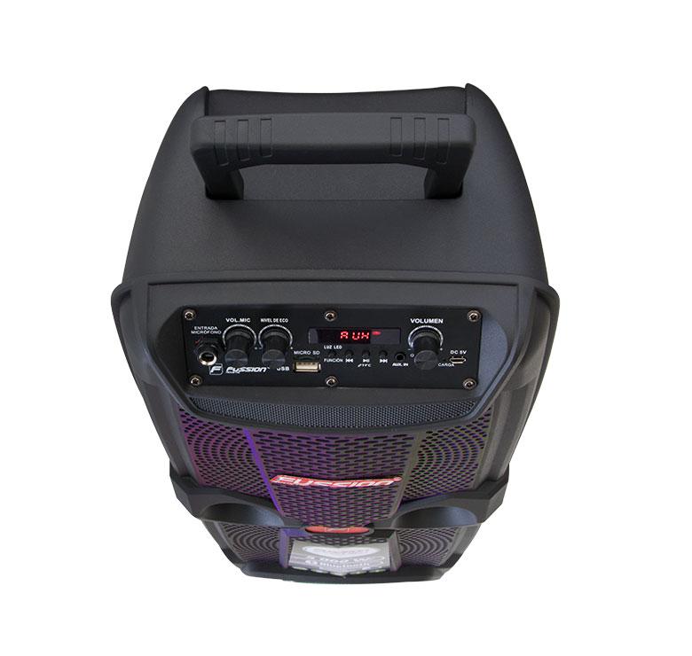 """Foto de BAFLE AMPLIFICADO 2x8"""" 5 000 W PMPO/TWS/RECARGABLE/BT/FM/USB/MICRO SD/AUX/6.3 mm/LUZ LED"""