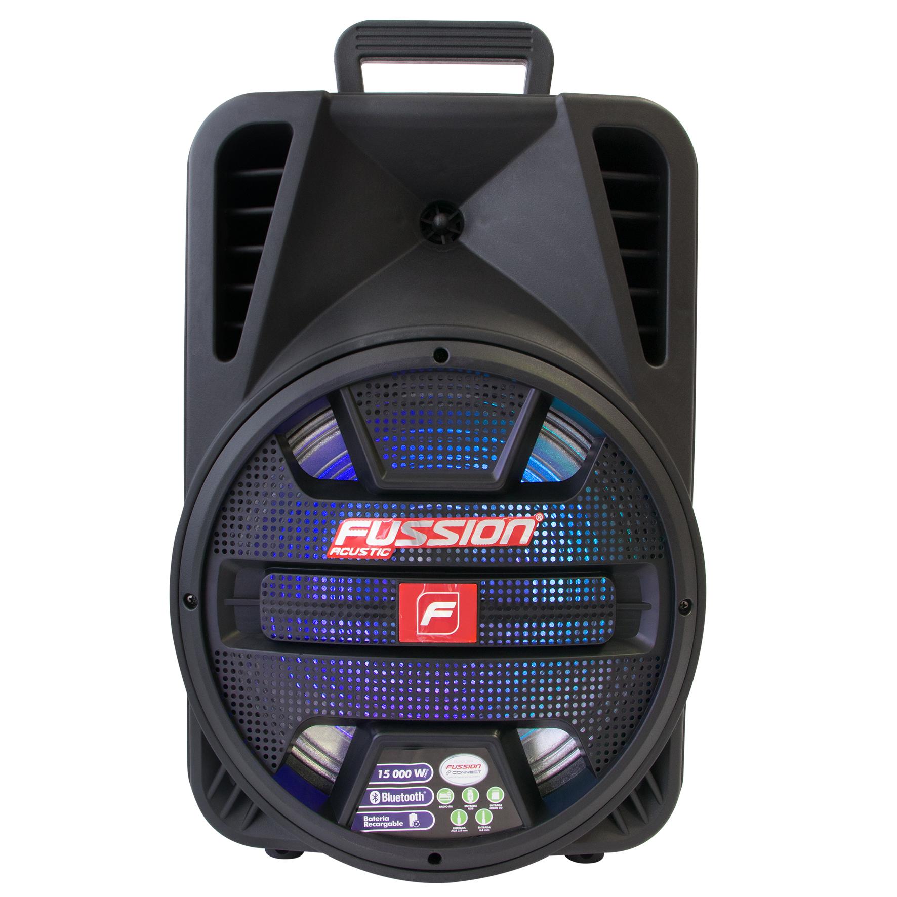 """Imagen de BAFLE AMPLIFICADO 12"""" 15 000 W PMPO/TWS/RECARGABLE/BT/FM/USB/MICRO SD/AUX/6.3 mm/LUZ LED"""
