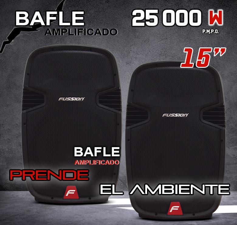 """Foto de JUEGO DE BAFLES AMPLIFICADO Y PASIVO DE 15"""" / 6,000W P.M.P.O. / BT / CONTROL / USB / SD / EQ 5B"""