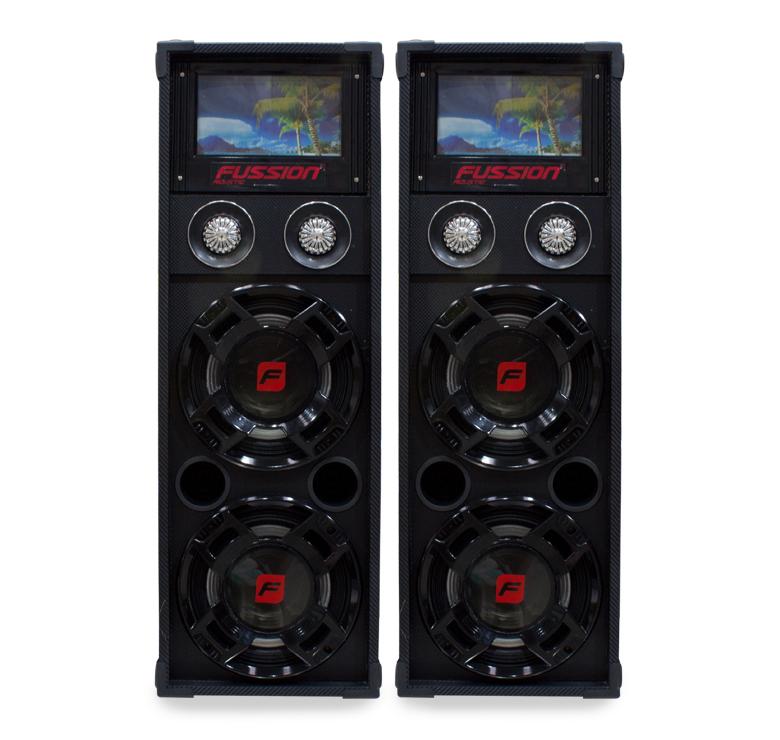 """Imagen de JUEGO DE BAFLES AMPLIFICADO Y PASIVO 2X 10"""" / 9500W P.M.P.O. / BT / CONTROL / MADERA / USB / SD"""