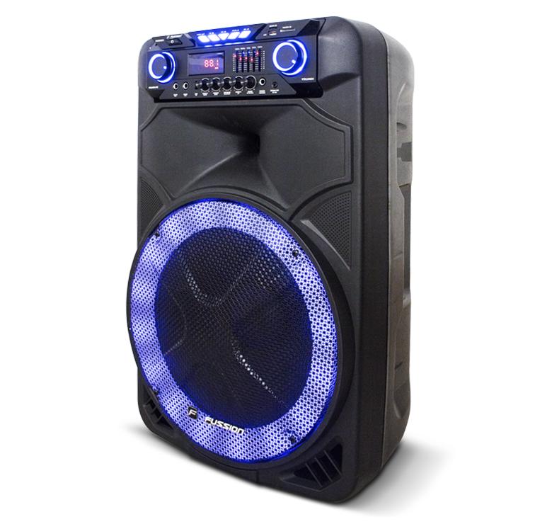 "Imagen de BAFLE AMPLIFICADO 15"" 12 000 W PMPO/RECARGABLE/BT/FM/USB/SD/MICRO SD/AUX/6.3 mm/RCA/EQ/LUZ LED/CONTR"
