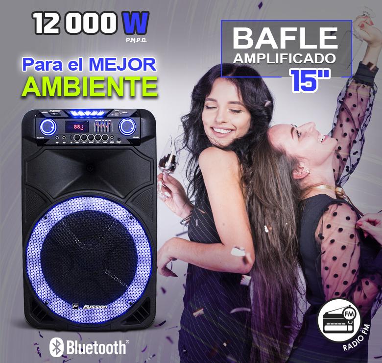 """Foto de BAFLE AMPLIFICADO DE 15"""" / 12,000W P.M.P.O. / BAT REC / BT / LUZ LED / MIC INALAMBRICO / CONTROL"""