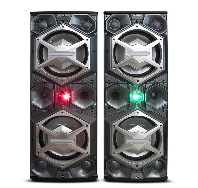 """Imagen de JUEGO DE BAFLES AMPLIFICADO Y PASIVO DE 2X15"""" / 20,000W P.M.P.O. / BT / LUZ LED / CONTROL / USB"""