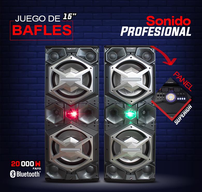"""Foto de JUEGO DE BAFLES AMPLIFICADO Y PASIVO DE 2X15"""" / 20,000W P.M.P.O. / BT / LUZ LED / CONTROL / USB"""