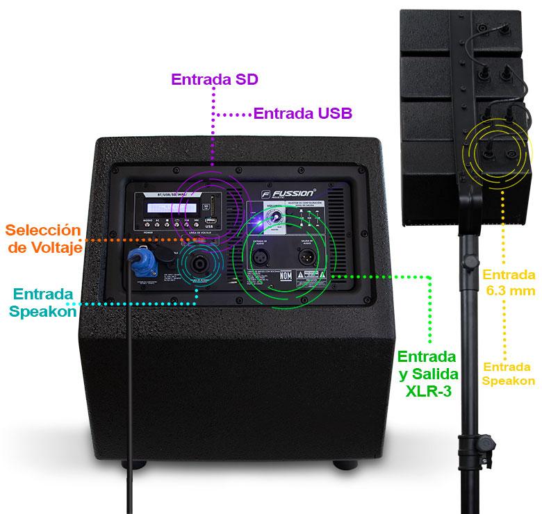 """Foto de JUEGO DE BAFLES CON SATELITES WOOFER AMPLIFICADO 12"""" 25000W P.M.P.O. CON SATELITES DE 4""""x4"""" USB"""