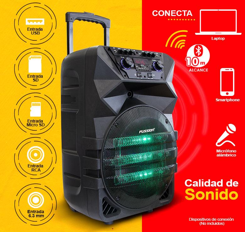 "Foto de BAFLE AMPLIFICADO DE 12""/17000W PMPO/BAT REC/BT/LUZ LED/MIC INALAMBRICO/CONTROLES AL FRENTE/EQ 5 B/"