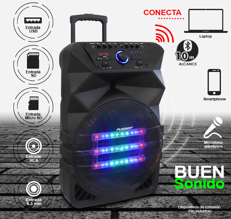 "Foto de BAFLE AMPLIFICADO DE 15""/25000W P.M.P.O./BAT RECARGABLE/BT/LUZ LED/MIC ALAMBRICO/CONTROLES AL FRENTE"