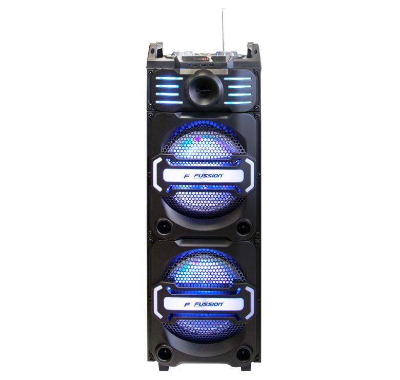 "Imagen de BAFLE AMPLIFICADO DE 2X10""/9000W PMPO/RECARGABLE/BLUETOOTH/USB/SD/LUZ LED/MIC INALAMBRICO/MEZCLADORA"
