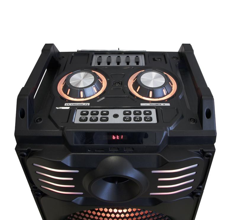 "Foto de BAFLE AMPLIFICADO DE 2X10""/9000W PMPO/RECARGABLE/BLUETOOTH/USB/SD/LUZ LED/MIC INALAMBRICO/MEZCLADORA"