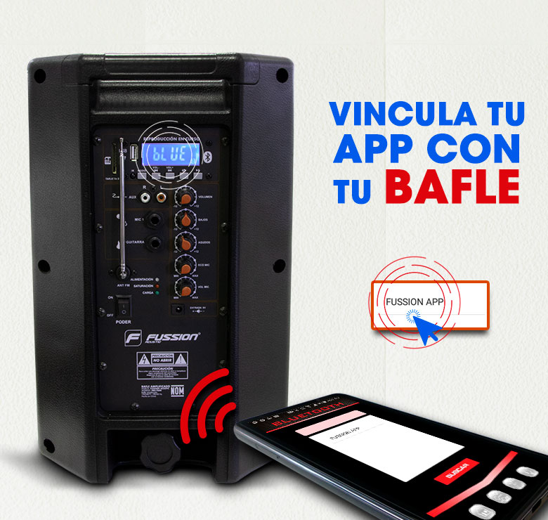"Foto de BAFLE AMPLIFICADO DE 8""  8000W PMPO BAT RECARGABLE  BLUETHOOT USB SD FM LUZ LED CON APP FUSSION"