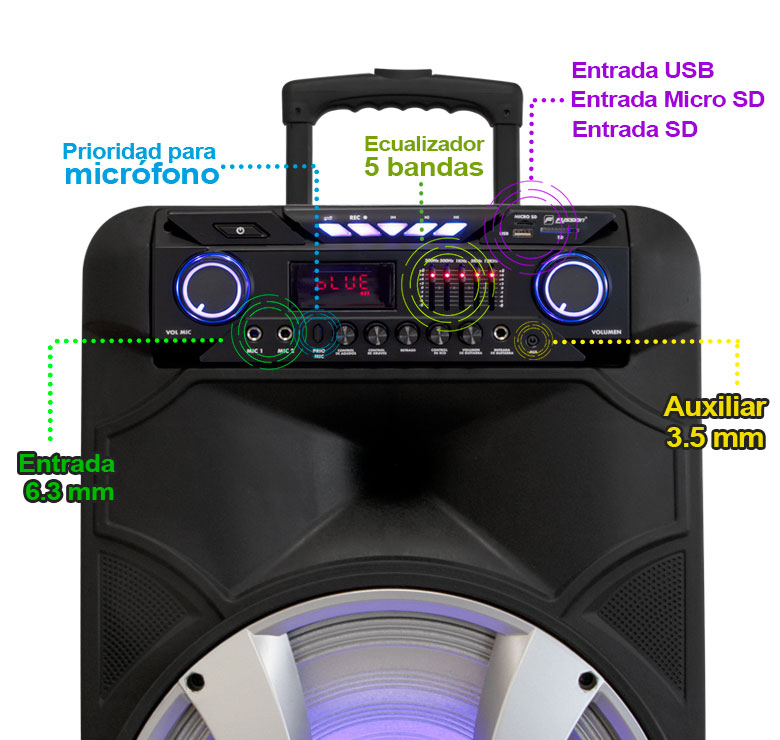 "Foto de BAFLE AMPLIFICADO DE 15""  15000W PMPO  RECARGABLE  BLUETHOOT USB SD FM LUZ EQ 5B LED MIC INALAMBRICO"