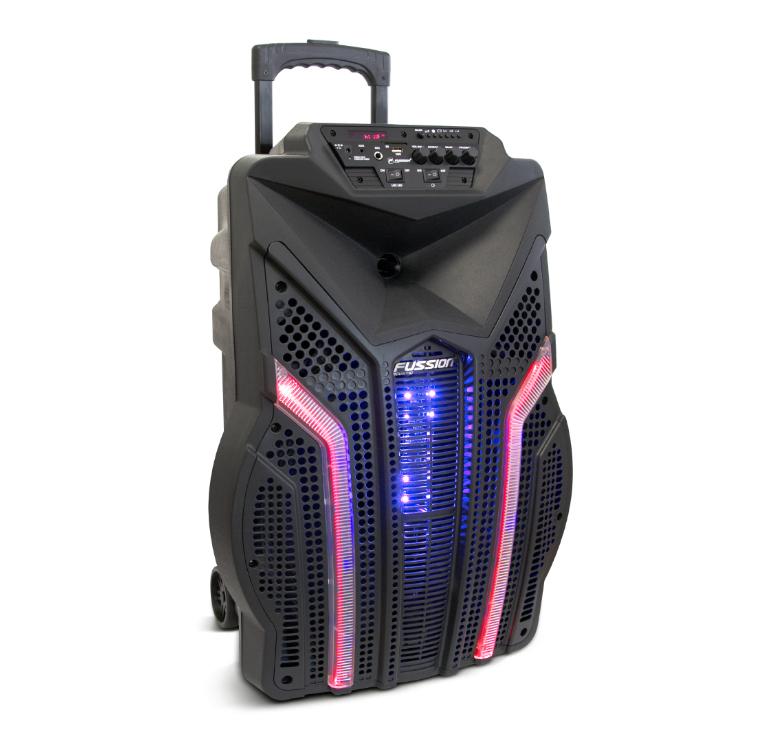 """Imagen de BAFLE AMPLIFICADO 12"""" 15 000 W PMPO/RECARGABLE/BT/FM/USB/SD/AUX/6.3 mm/LUZ LED/CONTROL/MIC ALÁMBRICO"""