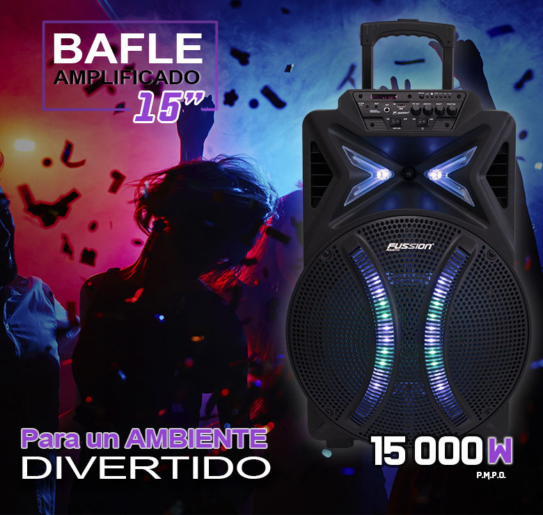 "Foto de BAFLE AMPLIFICADO DE 15"" 15000W PMPO RECARGABLE  BT USB SD FM  LED MIC ALAMBRICO CONTROLES AL FRENTE"