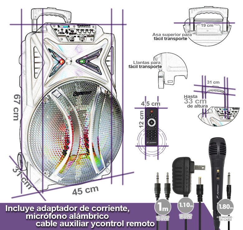 "Foto de BAFLE AMPLIFICADO DE 15"" 15000W PMPO RECARGABLE  BT USB SD FM  LED MIC ALAMBRICO CONTROLES AL FRENTE"