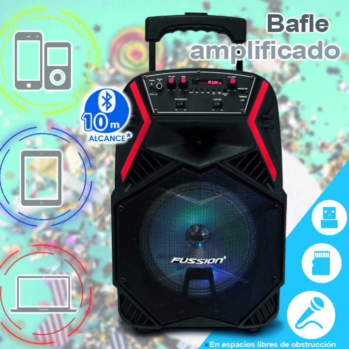 "Foto de BAFLE AMPLIFICADO DE 8"" 5000W PMPO RECARGABLE BLUETOOTH USB SD FM LUZ LED"