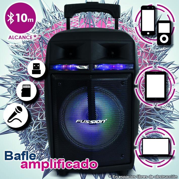 "Foto de BAFLE AMPLIFICADO DE 8""   5000W PMPO RECARGABLE  BLUETHOOT USB SD FM  LUZ LED  MIC ALAMBRICO"