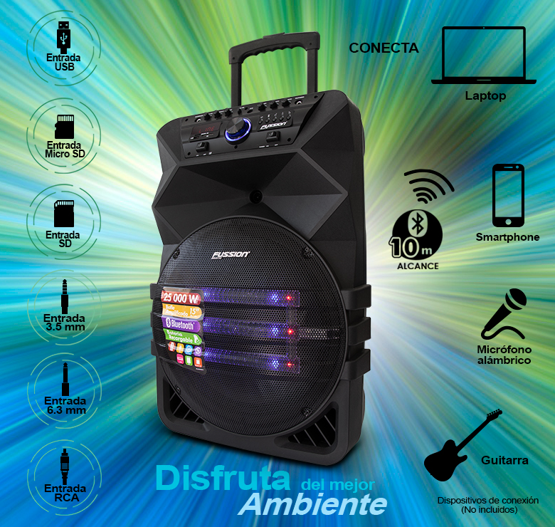"Foto de BAFLE AMPLIFICADO DE 15""/25000W P.M.P.O./BAT RECARGABLE/BT/LUZ LED/CONTROLES AL FRENTE"