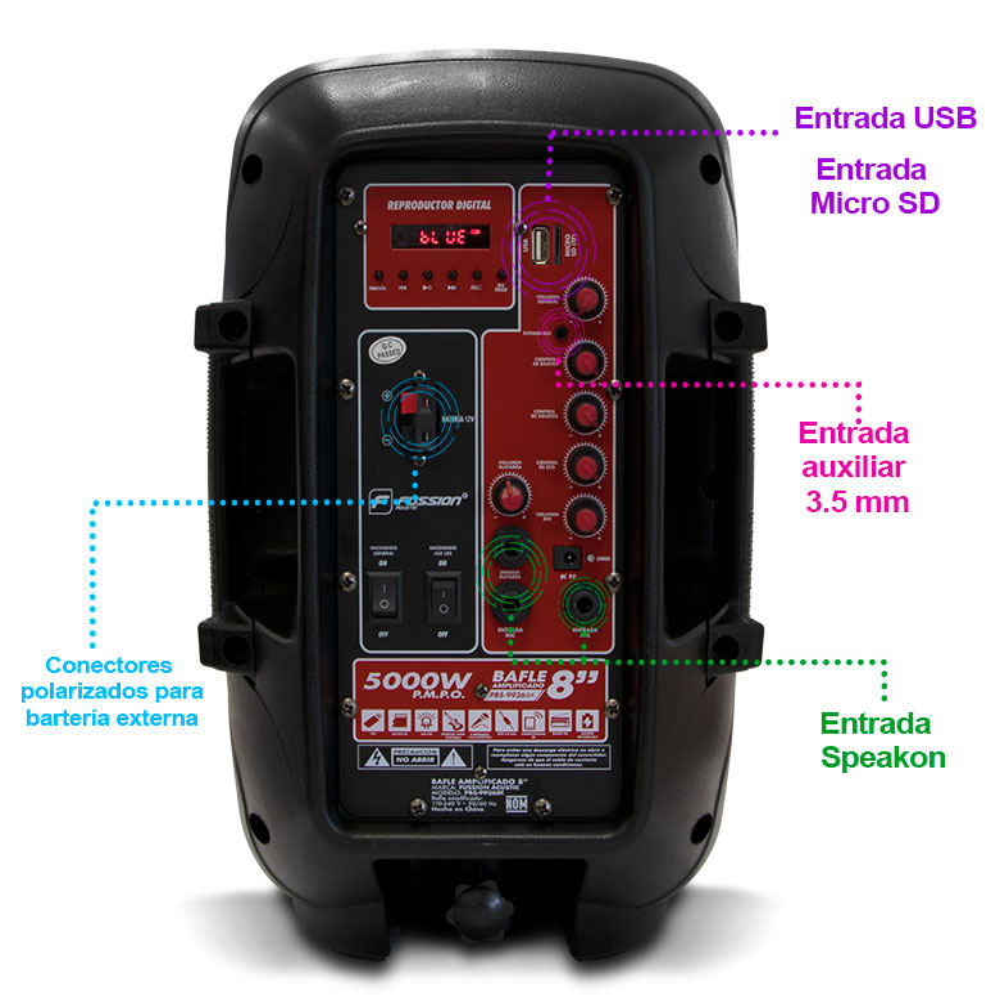 "Foto de BAFLE AMPLIFICADO DE 8"" / 5,000W P.M.P.O. / BLUETOOTH / LUZ LED / MIC / CONTROL / USB"