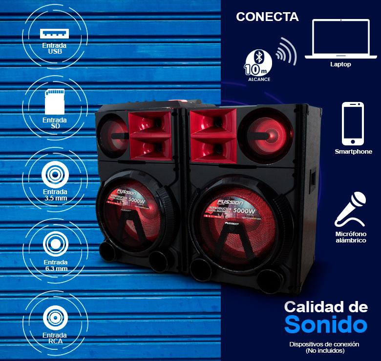 """Foto de JUEGO DE BAFLES AMPLIFICADO Y PASIVO DE 2X12"""" / 5,000W P.M.P.O. / BT / CONTROL / USB / SD / FM"""