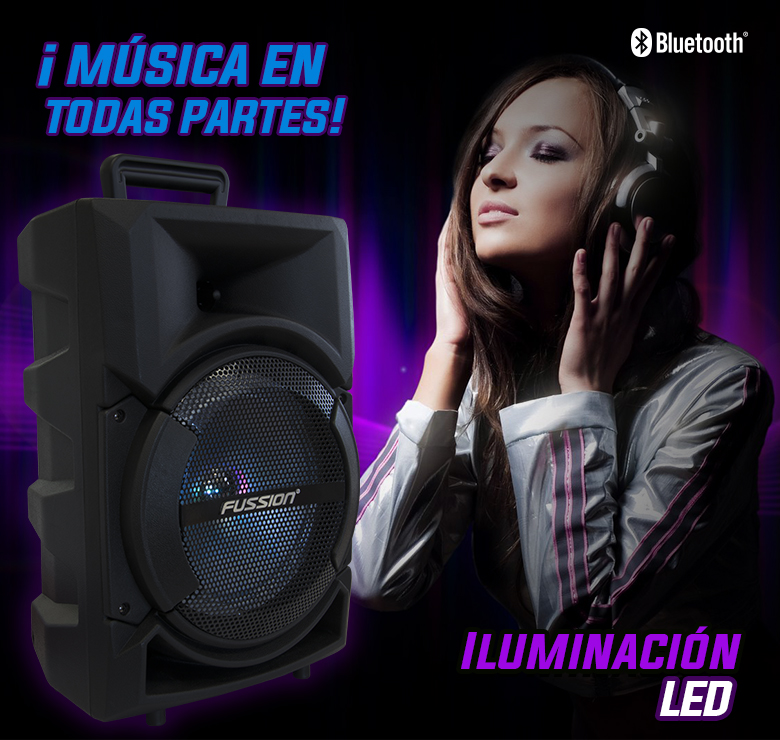 "Foto de BAFLE AMPLIFICADO DE 8""/5000W PMPO/BAT RECARGABLE/BT/LUZ LED"