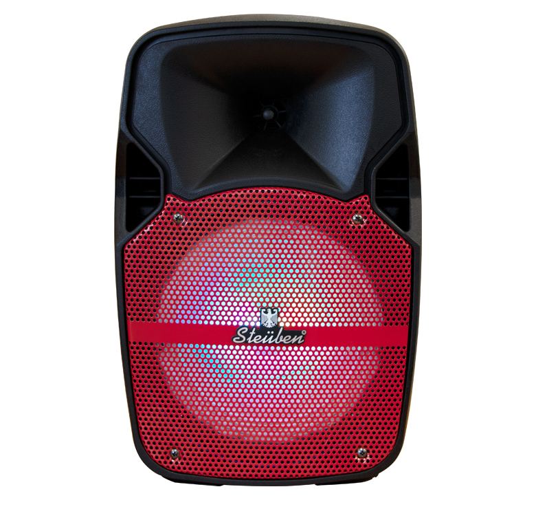 "Imagen de BAFLE AMPLIFICADO DE 8""/6000W PMPO/BAT RECARGABLE/BT/LUZ LED/MIC ALAMBRICO/CONTROL/USB"