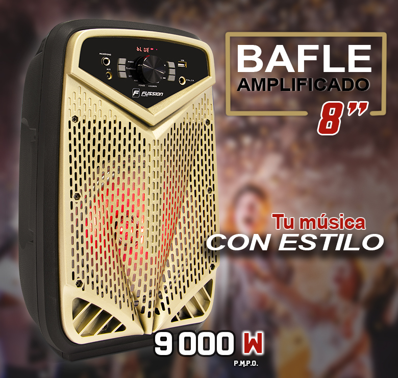 "Foto de BAFLE AMPLIFICADO DE 8""/9000W PMPO/RECARGABLE/BT/USB/SD/FM/LUZ LED/MIC ALAMBRICO/CONTROLES AL FRENTE"