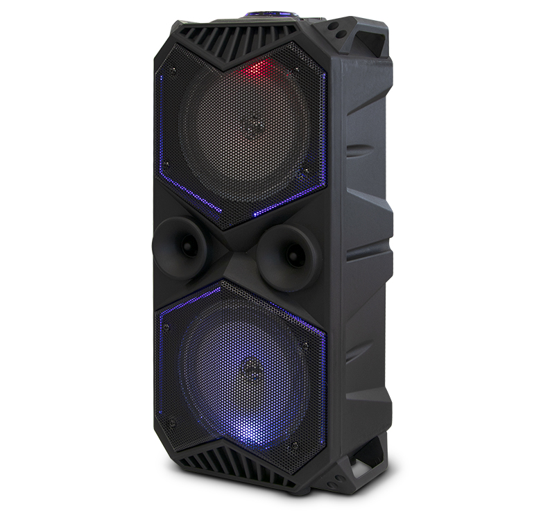 "Imagen de BAFLE AMPLIFICADO DE 2X6.5""/8000W PMPO/RECARGABLE/BLUETOOTH/USB/SD/FM/LUZ LED/MIC ALAMBRICO"